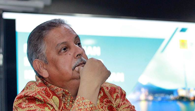 Direktur Utama PT Perusahaan Listrik Negara (Persero) (PLN) Sofyan Basir saat konferensi pers di Jakarta, Senin (16/7/2019). - Bisnis/Dwi Prasetya