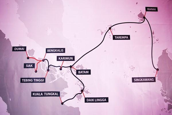 Ilustrasi Peta sistem komunikasi kabel laut Palapa Ring paket barat. - Kementerian Komunikasi dan Informatika