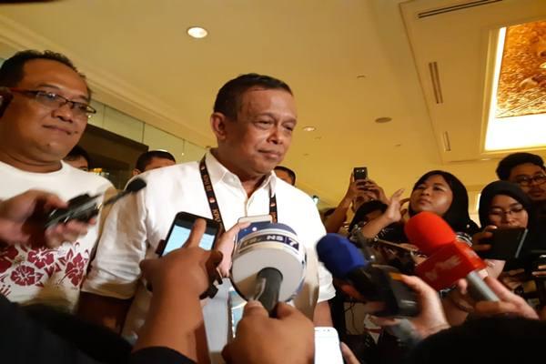 Ketua Badan Pemenangan Nasional (BPN) Djoko Santoso jelang debat keempat pilpres 2019 di Hotel Shangrila-La Jakarta, Sabtu (30/3/2019). JIBI/Bisnis - Feni Freycinetia