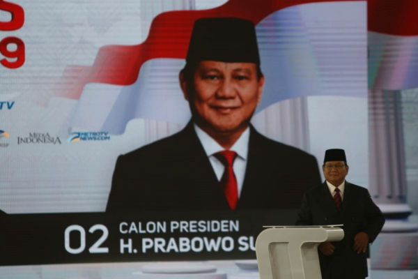 Capres nomor urut 02 Prabowo Subianto mengikuti debat capres putaran keempat di Hotel Shangri La, Jakarta, Sabtu (30/3/2019)/JIBI - Bisnis/Nurul Hidayat