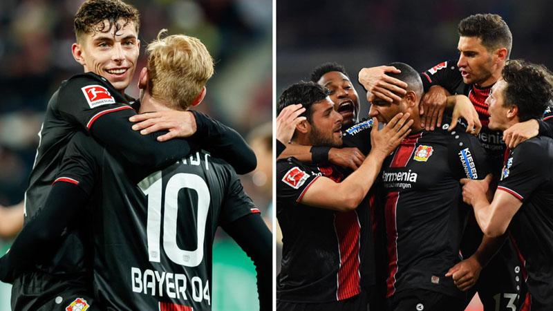Perayaan kejayaan Bayer 04 Leverkusen di hadapan Augsburg. - Twitter@bayer04_en