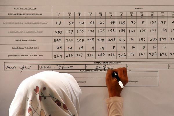Anggota PPK (Panitia Pemilihan Kecamatan) mencatatl rekap suara Pilkada Banten saat rapat pleno penghitungan suara Pilgub Banten secara manual di Serang, Jumat (17/2). - Antara/Asep Fathulrahman