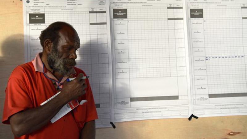 Petugas KPPS melakukan penghitungan suara pada Pemilu serentak 2019 di Kampung Kama, Distrik Wesaput, Wamena, Kabupaten Jayawijaya, Papua, Rabu (17/4/2019). - Antara/Yusran Uccang