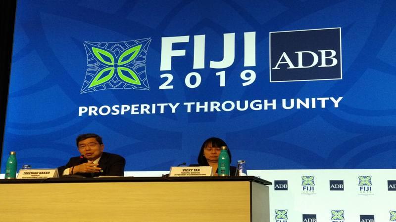 Presiden ADB Takehiko Nakao memberikan keterangan dalam acara President's Press Conference, ADB Annual Meetings 2019 di Nadi, Fiji, Kamis (2/5/2019). JIBI/Bisnis - Farodlilah Muqoddam