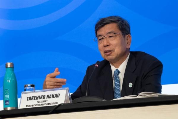 Presiden Asian Development Bank (ADB) Takehiko Nakao memberikan paparan dalam Action Plan for Healthy Oceans and Sustainable Blue Economies for the Asia and Pacific yang diluncurkan dalam rangkaian acara ADB Annual Meeting 2019 di Nadi, Fiji, Kamis (2/5/2019). - Dok. ADB