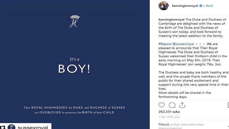 Tokoh Dunia Sambut Kelahiran Putra Pertama Meghan Markle Pangeran Harry Kabar24 Bisnis Com