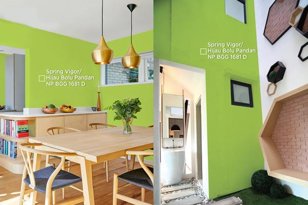 Untuk Interior, warna Hijau Bolu Pandan sesuai dipadukan dengan warna putih, untuk menciptakan nuansa segar dan modern. Untuk eksterior, aplikasi dengan hijau ini menciptakan nuansa nyaman dan alami, apabila dipadukan dengan warna tanah yang membumi, seperti coklat. - NIPPON