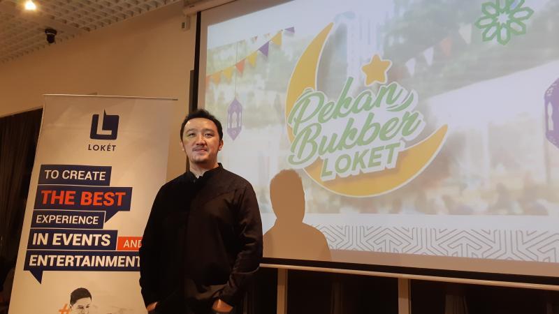 VP Marketing Loket Ario Adimas memaparkan perkembangan terbaru Loket yang  menyasar penyelenggara acara berskala kecil dan menengah tahun ini. - Bisnis/Deandra Syarizka