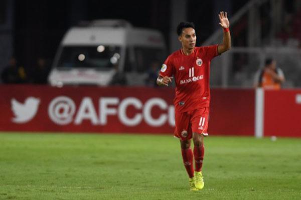 Gelandang serang Persija Jakarta Novri Setiawan selepas menjebol gawang klub Myanmar Shan United. - Antara/Wahyu Putro