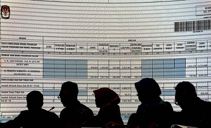 Petugas melakukan penghitungan dalam Rapat Pleno Rekapitulasi Hasil Penghitungan dan Perolehan Suara Tingkat Nasional Dalam Negeri dan Penetapan Hasil Pemilu 2019 di kantor KPU, Jakarta, Rabu (15/5/2019). - ANTARA/Aprillio Akbar