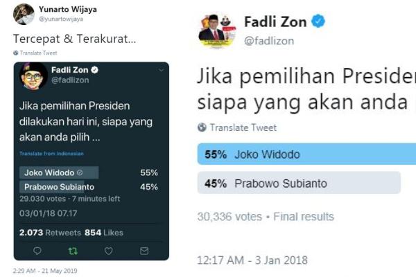 Cuitan Twitter Yunarto Wijaya dan Fadli Zon / Tangkap layar Twitter