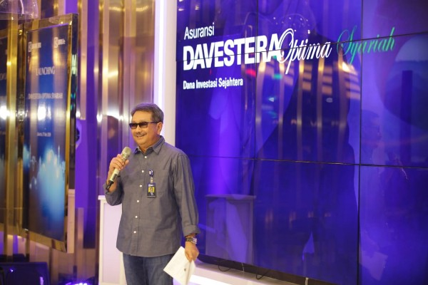 Direktur Utama BRI Life Gatot Mardiwasisto saat memberikan sambutan di acara launching produk asuransi Davespro dan Davestera Optima Syariah.