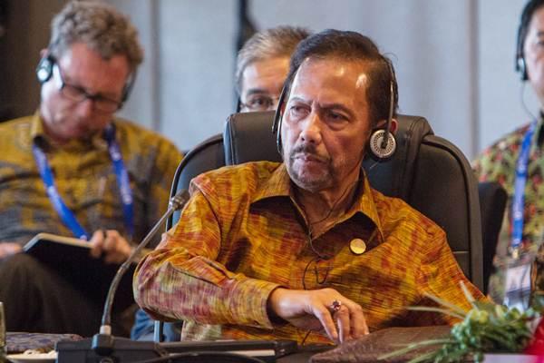 Sultan Brunei Darussalam Hassanal Bolkiah mengikuti pertemuan ASEAN Leaders Gathering di Hotel Sofitel, Nusa Dua, Bali, Kamis (11/10/2018). - ANTARA/Afriadi Hikmal
