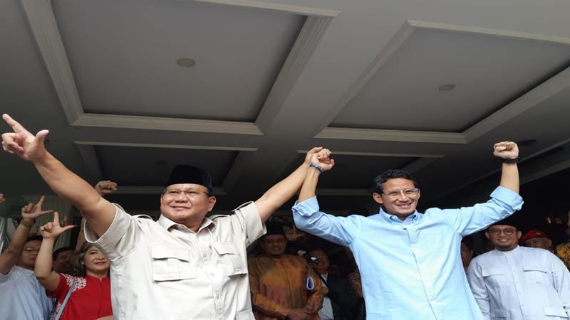 Capres Prabowo Subianto dan cawapres Sandiaga Uno menolak hasil perhitungan pilpres 2019 oleh KPU, Selasa (21/5/2019). JIBI/Bisnis - Feni Freycinetia Fitriani
