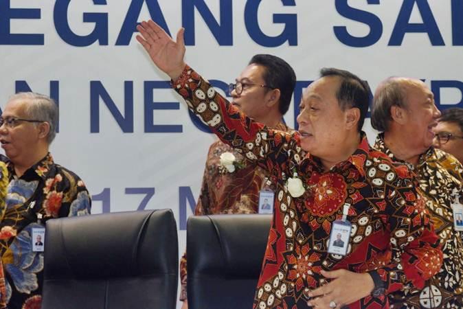 Direktur Utama PT Bank Tabungan Negara Tbk (BBTN) Maryono usai RUPST di Jakarta, Jumat (17/5/2019). - Bisnis/Nurul Hidayat