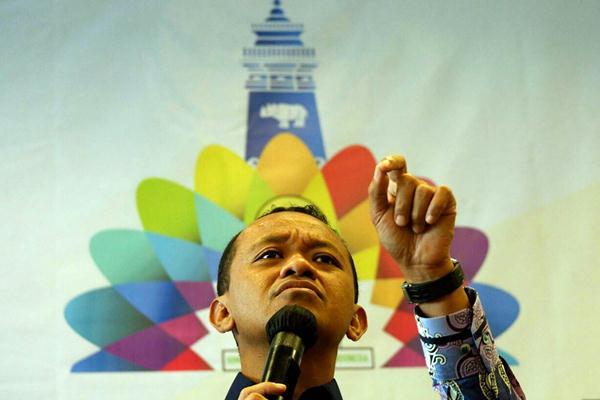 Ketua Umum Himpunan Pengusaha Muda Indonesia (Hipmi) Bahlil Lahadalia memberikan penjelasan pada konferensi pers pelaksanaan Sidang Dewan Pleno II dan Rapimnas BPP Hipmi, di Jakarta, Jumat (2/3/2018). - JIBI/Nurul Hidayat
