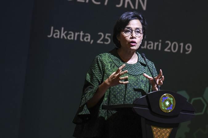 Menteri Keuangan Sri Mulyani berpidato saat peluncuran data sampel BPJS Kesehatan di Jakarta, Senin (25/2/2019). - ANTARA/Hafidz Mubarak A