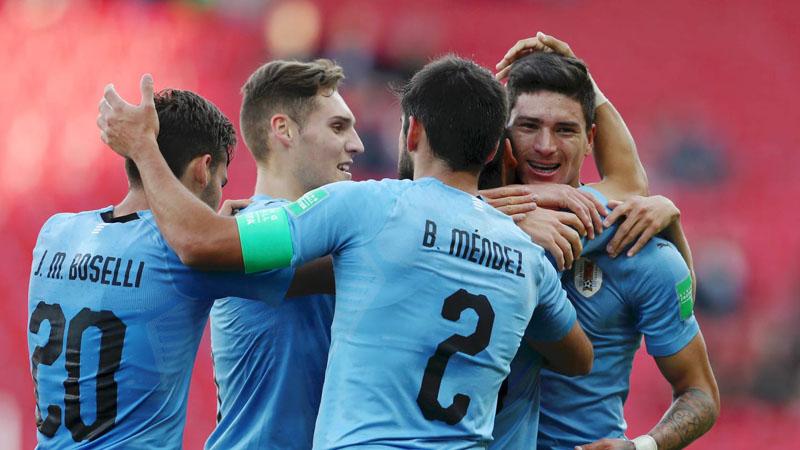 Pemain Uruguay U-20 bersukacita selepas menjebol gawang Selandia Baru U-20. - FIFA.com