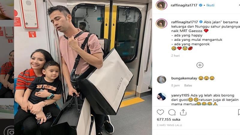Nagita Slavina, Raffi Ahmad dan anak mereka naik MRT - Instagram @raffinagita1717