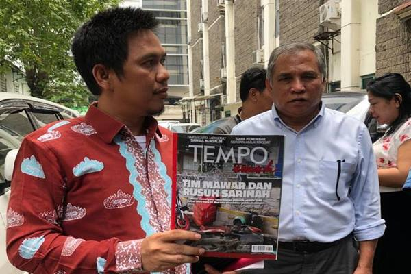 Penasihat hukum eks Komandan Tim Mawar Mayjen (Purn) Chairawan, Hendriansyah melaporkan Majalah Tempo ke Dewan Pers, Selasa (11/6/2019). JIBI/Bisnis - Sholahuddin Al Ayyubi