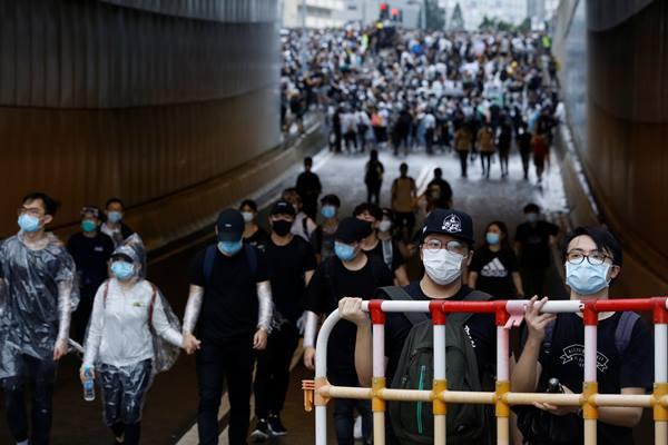 Unjuk rasa penentang RUU ekstradisi di Hong Kong, Rabu (12/6/2019). - Reuters