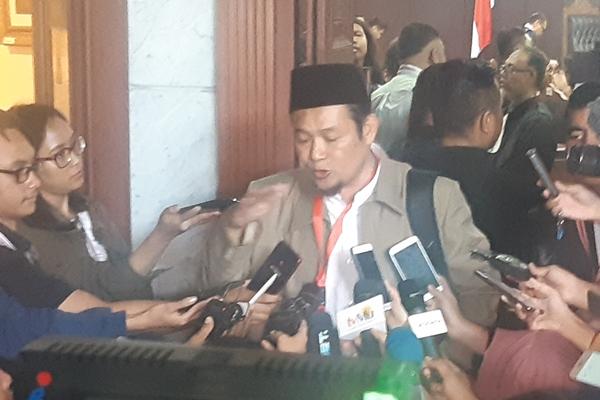Jubir Tim Teknologi Informasi BPN Prabowo-Sandi, Agus Muhammad Maksum seusai memberi kesaksian di Gedug Mahkamah Konstitusi (MK) Rabu (19/6/2019)./JIBI - Bisnis/Jaffry Prabu Prakoso