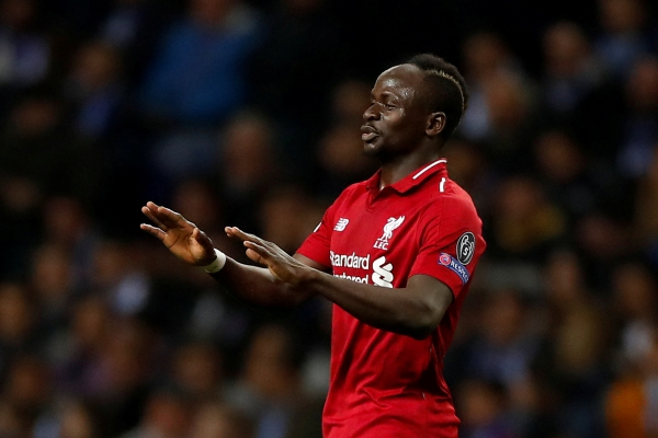 Striker Liverpool Sadio Mane seusai mencetak gol ke gawang FC Porto - Reuters/Andrew Boyers