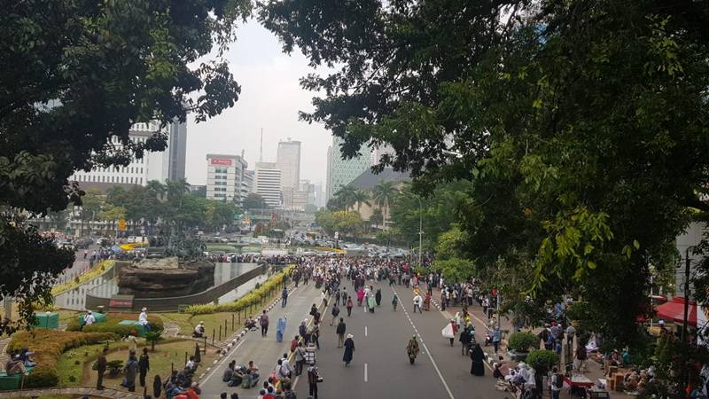 Suasana Demonstrasi yang digelar GNPF Ulama dan FPI di kawasan Patung Arjuna Wijaya, Jakarta Pusat, Rabu (26/6/2019). JIBI/Bisnis - Lalu Rahadian