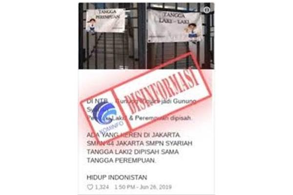 Disinformasi terkait pemisahan tangga di SMPN 44 Jakarta. Pihak sekolah sudah menjelaskan alasan sesungguhnya dari pemisahan tangga untuk siswa putra dan putri. - kominfo.go.id