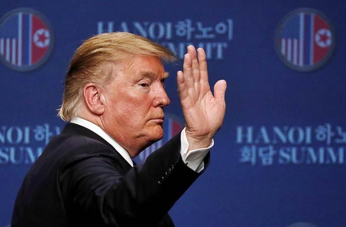 Presiden Amerika Serikat Donald Trump dalam konferensi pers di Hotel JW Marriott, di Hanoi, Vietnam, Kamis (28/2/2019). - REUTERS/Jorge Silva