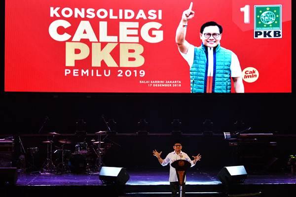 Ketua Umum PKB Muhaimin Iskandar saat memberikan sambutan dalam Konsolidasi Caleg PKB di Balai Sarbini, Jakarta, Senin (17/12/2018). - ANTARA/Sigid Kurniawan
