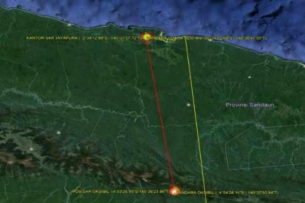 Lokasi yang diduga menjadi tempat hilangnya helikopter MI 17
