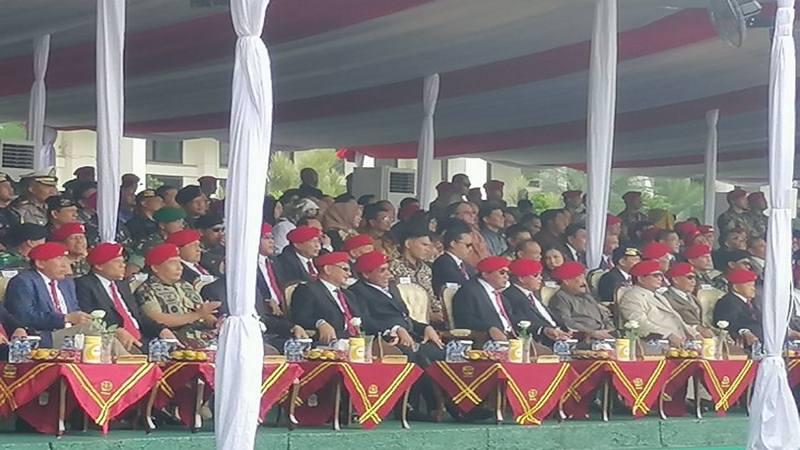 Mantan Danjen Kopassus Letjen TNI Purn Prabowo Subianto menghadiri upacara peringatan HUT ke-67 Kopassus, di Makopassus, Cijantung, Jakarta Timur, Rabu (24/4/2019). - Antara