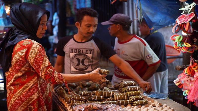 Makanan khas Makassar, burasa, dipamerkan di Indonesia City Expo (ICE) Semarang. - Istimewa