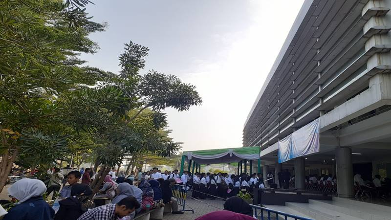 Suasana menjelang ujian tulis berbasis komputer (CAT) SPMB (Seleksi Penerimaan Murid Baru) Politeknik Keuangan Negara STAN, Jumat (5/7/2019) di Tangerang. - Istimewa