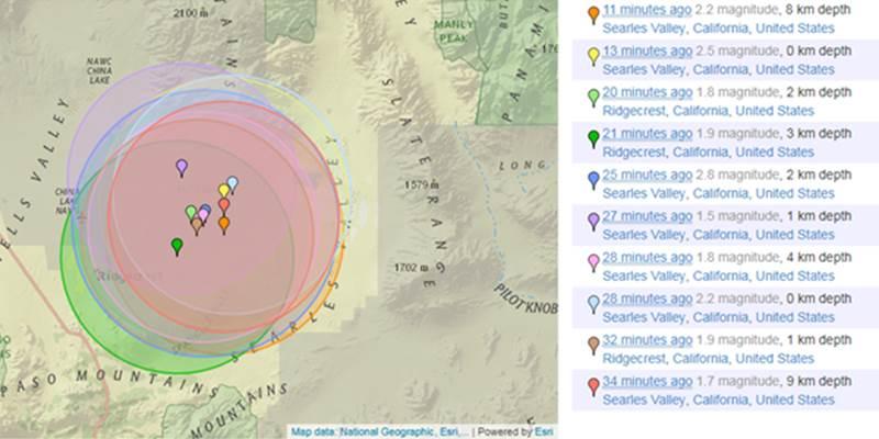 Peta gempa California Selatan, dimonitor Jumat (5/7/2019) pukul 13.07 WIB. - earthquaketrack.com