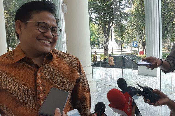 Ketua Umum PKB Muhaimin Iskandar memberikan keterangan kepada awak media di Kantor Wakil Presiden Jusuf Kalla, Senin (8/7/2019).. - Bisnis/Anggara Pernando