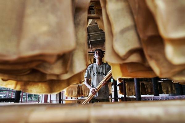 Pekerja menjemur lembaran karet. - Bloomberg/Dario Pignatelli