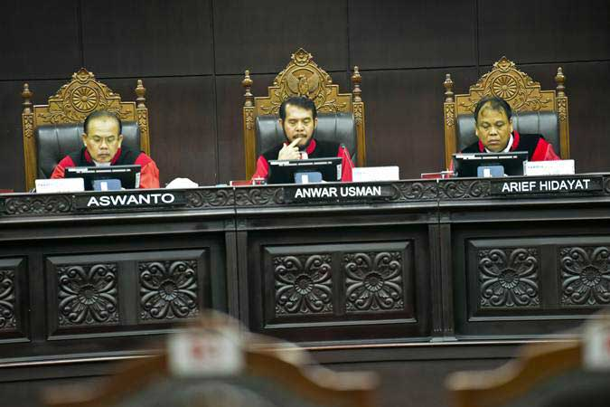 Suasana sidang di Gedung Mahkamah Konstitusi. - Antara