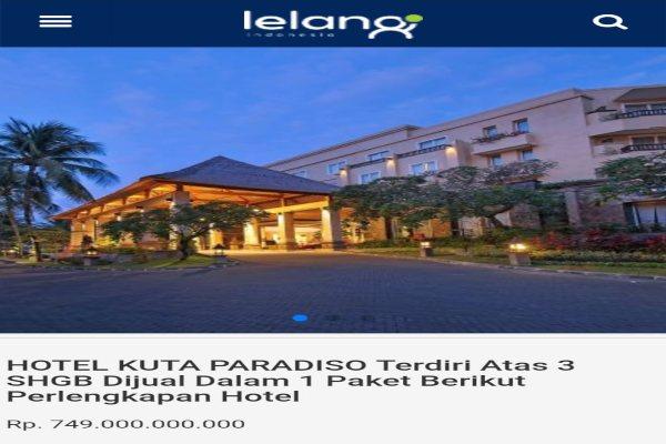 Pengumuman lelang Hotel Kuta Paradiso Bali