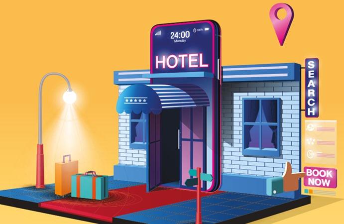 Ilustrasi aplikasi pesan hotel. - Husin Parapat