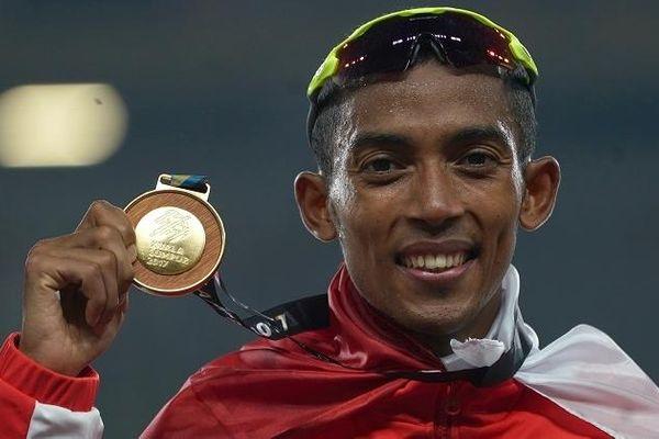 Atlet lari Indonesia Agus Prayogo. - Antara/Sigid Kurniawan
