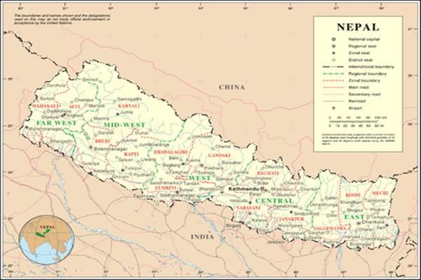 Peta Nepal - Ilustrasi