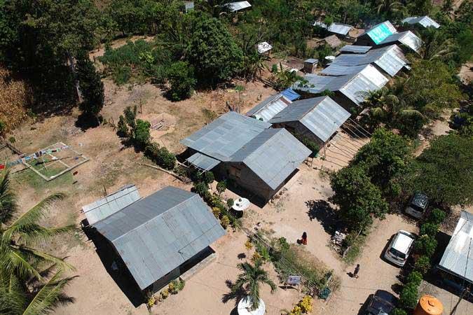 Foto udara lokasi permukiman dan lahan transmigrasi di Desa Puncak, Kabupaten Gorontalo, Gorontalo, Selasa (5/3/2019). - ANTARA/Adiwinata Solihin