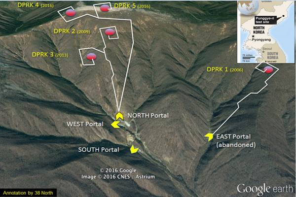 Lokasi uji coba nuklir Korut di Pegunungan Pungye-ri. - Google/38 north
