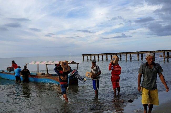 Antam merespons tanggap darurat bencana gempa Maluku Utara melalui jalur darat dan laut. - Antam