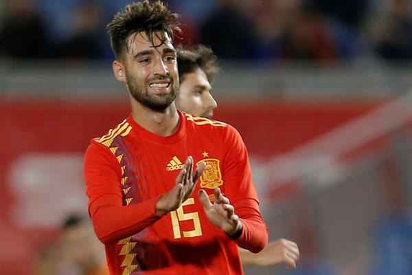Gelandang Timnas Spanyol Brais Mendez setelah timnya menang 1 - 0 atas Bosnia-Herzegovina dalam uji coba pada 18 November 2018. Mendez mencetak gol penentu kemenangan dan itu merupakan laga debutnya untuk Spanyol. - Reuters