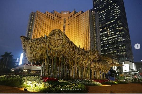 Instalasi bambu 'Getah Getih' di kawasan Bundaran Hotel Indonesia saat pelaksanaan Asian Games 2018. - Instagram @aniesbaswedan