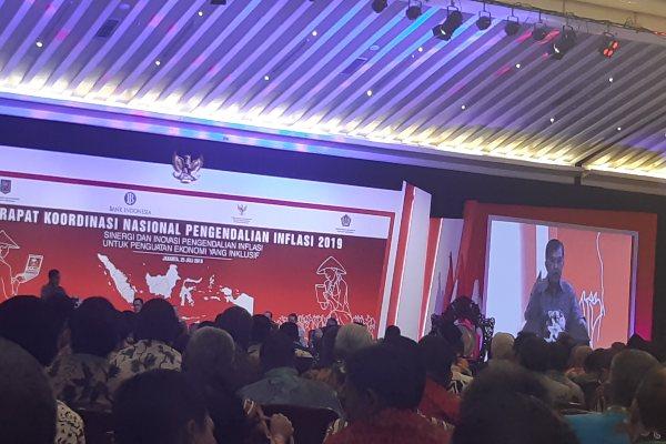 Wakil Presiden Jusuf Kalla saat memberikan sambutan dalam Rapat Koordinasi Nasional Pengendalian Inflasi, kamis (25/7/2019). - Bisnis/Anggara Pernando