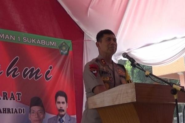 Kapolda Jabar Irjen Pol Rudy Sufahriadi saat memberikan penyuluhan di MAN I Cibadak, Kabupaten Sukabumi - Antara